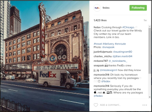 Example of engaging Instagram post from FedEx.